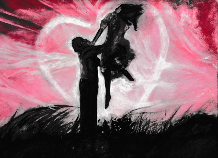Colourful acrylic painting depicting love by Irish artist Rachel Hill.