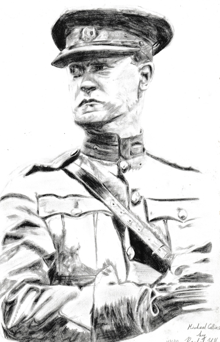 Drawing of an Irish hero Michael Collins, done in pencils.