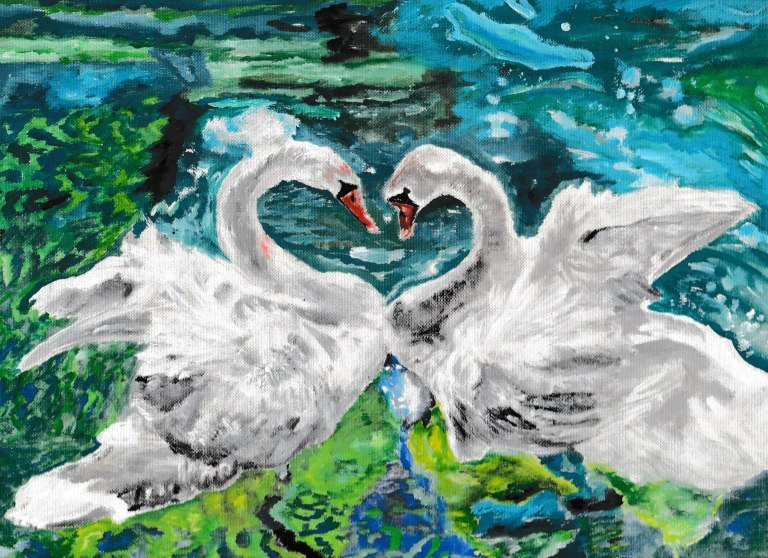 This is an acrylic painting of swans by traditional, fine artist Rachel Hill based in Cork, Ireland. This painting is for sale.