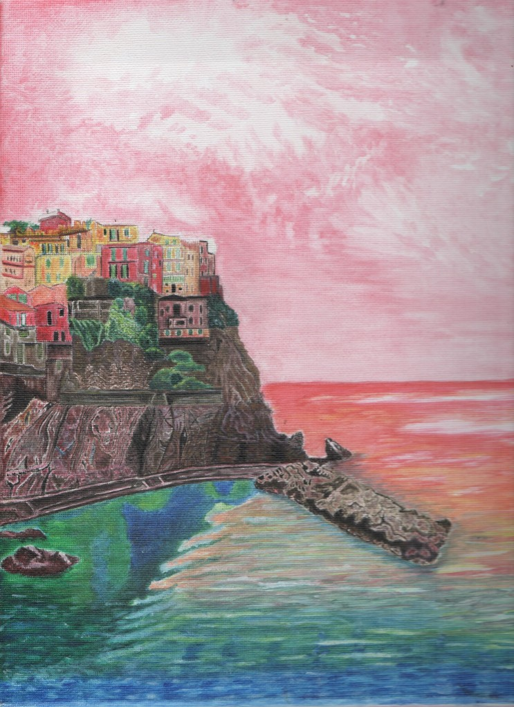 Acrylic painting of Cinque Terre by Irish artist Rachel Hill