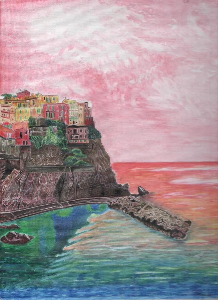 Acrylic painting of Cinque Terre by Irish artist Rachel Hill