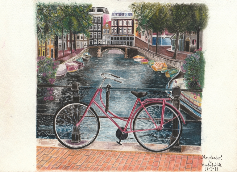 Watercolour painting of Amsterdam by Irish Artist Rachel Hill