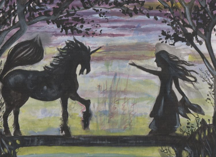 Unicorn and Girl painting